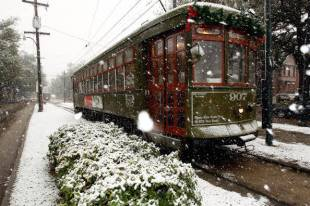 An extremely rare snow-filled day in New Orleans, Dec. 11, 2008